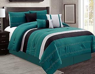JBFF 7 Piece Oversize Luxury Bacon Bed in Bag Microfiber Comforter Set, Teal, King