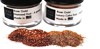 (2 Pack) Rose Gold Luxury Diamond Dust (Rose Gold Glitter & Luster Dust Set), 11 grams total, USA Made