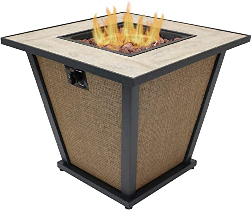 high quality Sunnydaze lowest Reykir Outdoor Fire Pit with Tile Tabletop and Rafa Fabric Sides - Modern Smokeless Square Outdoor Fire Pit Table - Ideal online for The Patio, Deck or Backyard - 24 Inches Tall outlet sale
