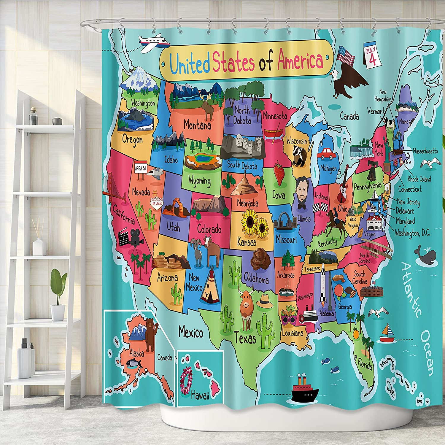 Riyidecor Fabric Map Shower Curtain US Inch Bathroom Virginia Beach Mall for 72Wx72H 70% OFF Outlet