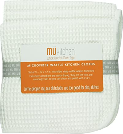 MUkitchen Microfiber Waffle Dishcloth, 12 by 12-Inches, Set of 3, White