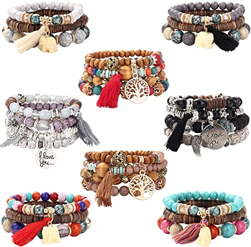 Subiceto 8 Set Bohemian Wood Beads Bracelet Set for Women Multilayer Tassel Stackable Beaded Charm Stretch Statement ...
