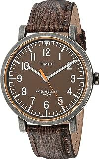 Unisex TWH3Z1910 Originals Oversized Wood Grain/Antique Brass Leather Strap Watch