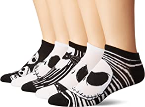 Disney Nightmare Before Christmas 5 Pack No Show Sock, Assorted Neutral, One Size