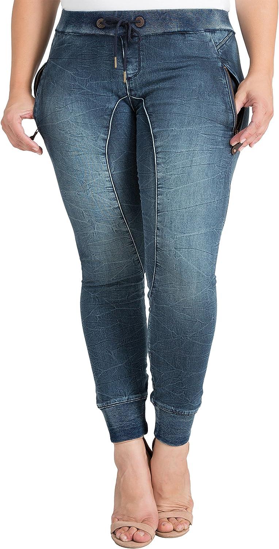 Standards & Practices Plus Size Modern Womens Drawstring Denim Knit Jogger Pants