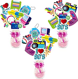 WATINC 30pcs I Love 90s Card Stock Centerpiece Table Decor Set for 1990s Retro Party Decor, Back to The 90's Cake Topper f...