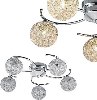 [lux.pro] Lámpara de techo con 5 focos 'Metal Globe' - luz de techo moderna - G9 - cromo - 5 bolas decorativas