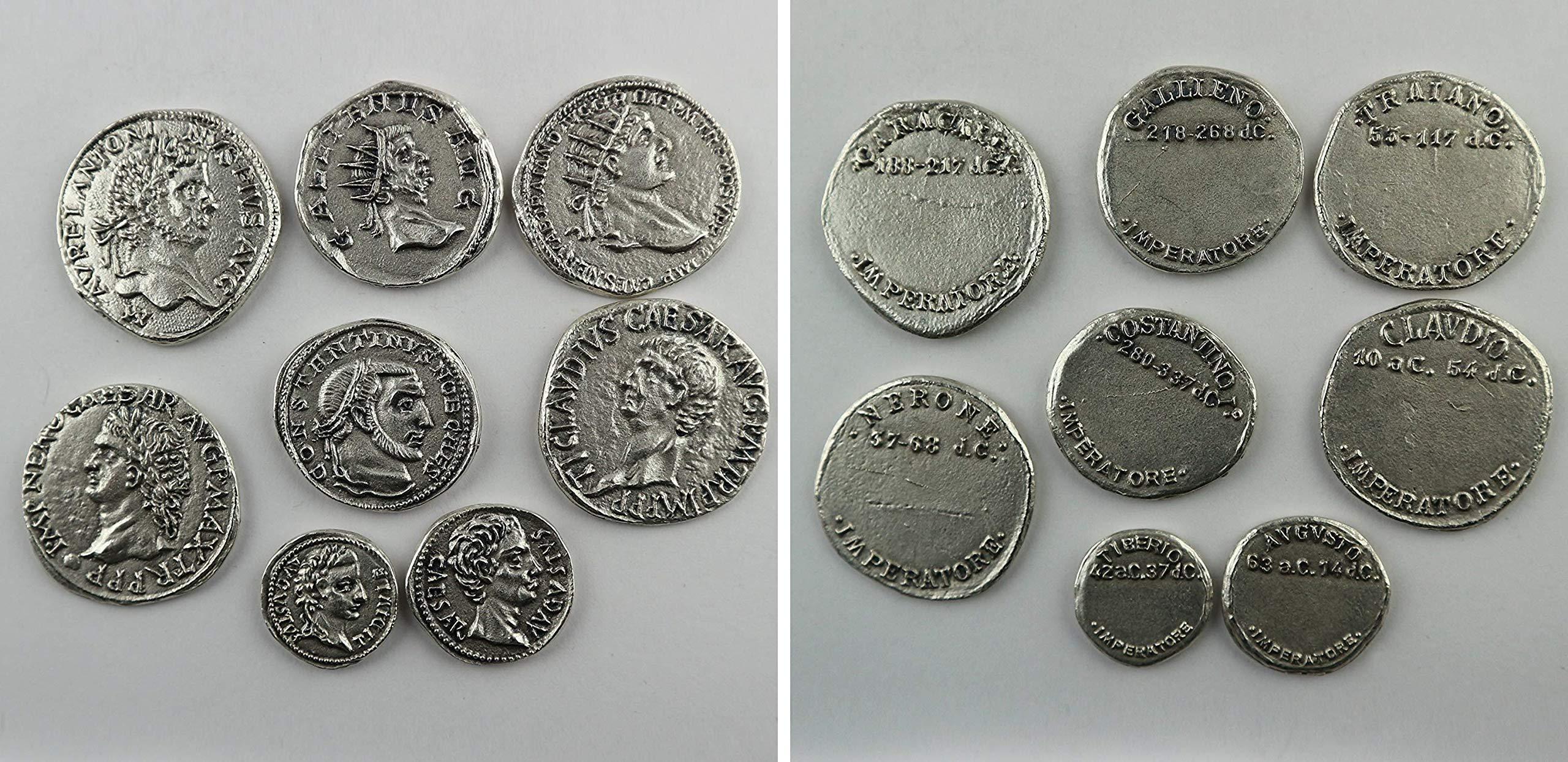 Eurofusioni Monedas Antiguas Romanas chapada Plata - Set 8 Piezas: Amazon.es: Hogar