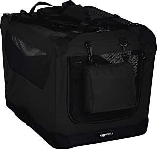 AmazonBasics Premium Folding Portable Soft Pet Dog Crate Carrier Kennel - 26 x 18 x 18 Inches, Black