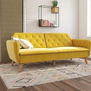 Novogratz 2144379N Tallulah Memory Foam Couch, Mustard Yellow Velvet Futon,