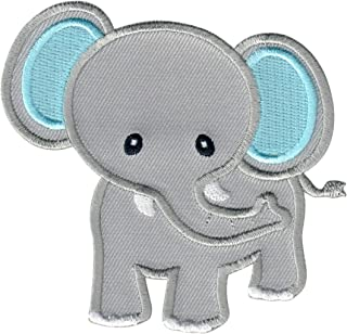 PatchMommy Elephant Patch, Iron On/Sew On - Appliques for Kids Children (Grey/Blue