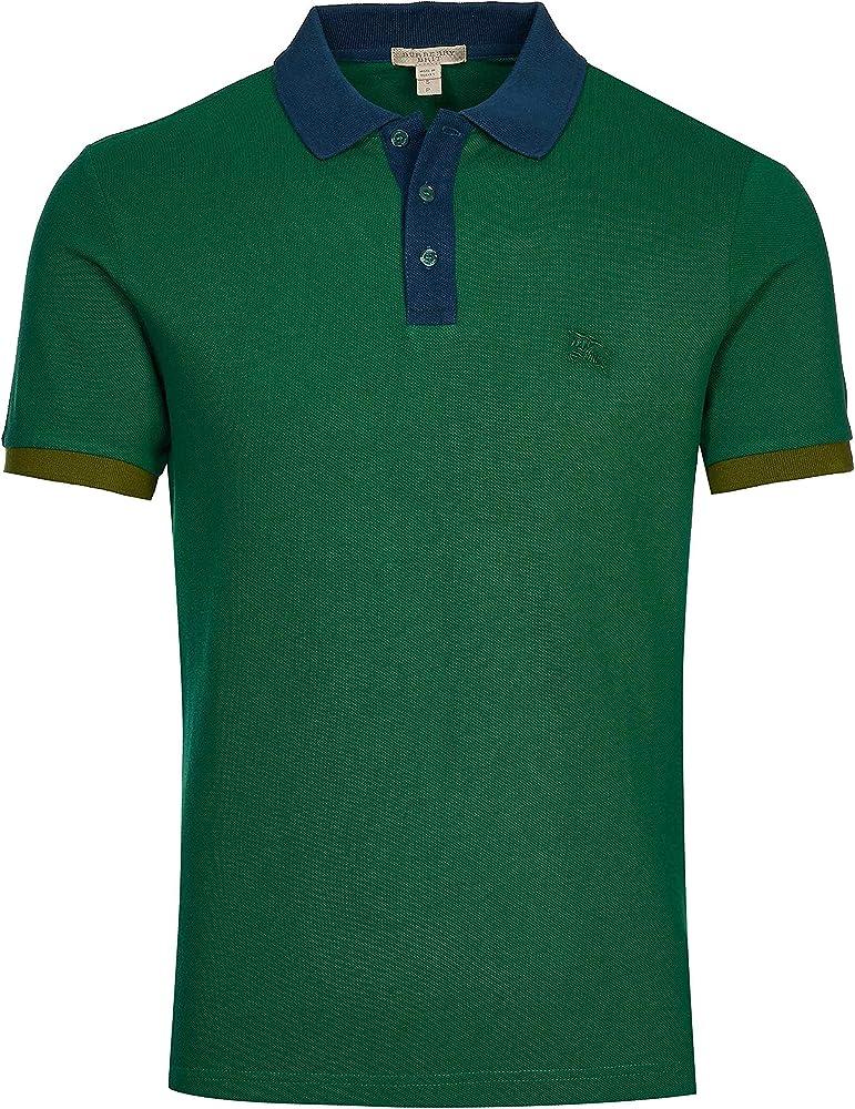 Burberry brit poloshirt, regency verde, maglietta da uomo a maniche corte, 100% cotone