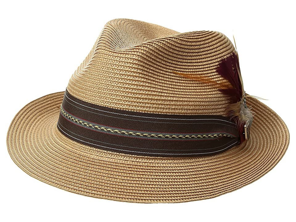 6cd8927dabfed Stacy Adams Poly Braid Pinch Front Fedora with Fancy Band (Brown) Caps