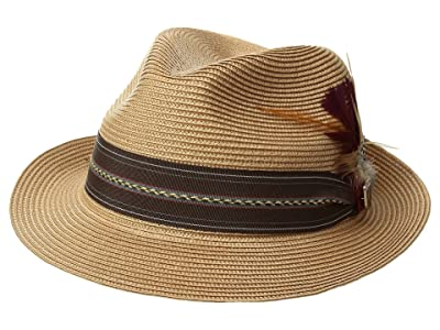 Stacy Adams Poly Braid Pinch Front Fedora with Fancy Band (Brown) Caps
