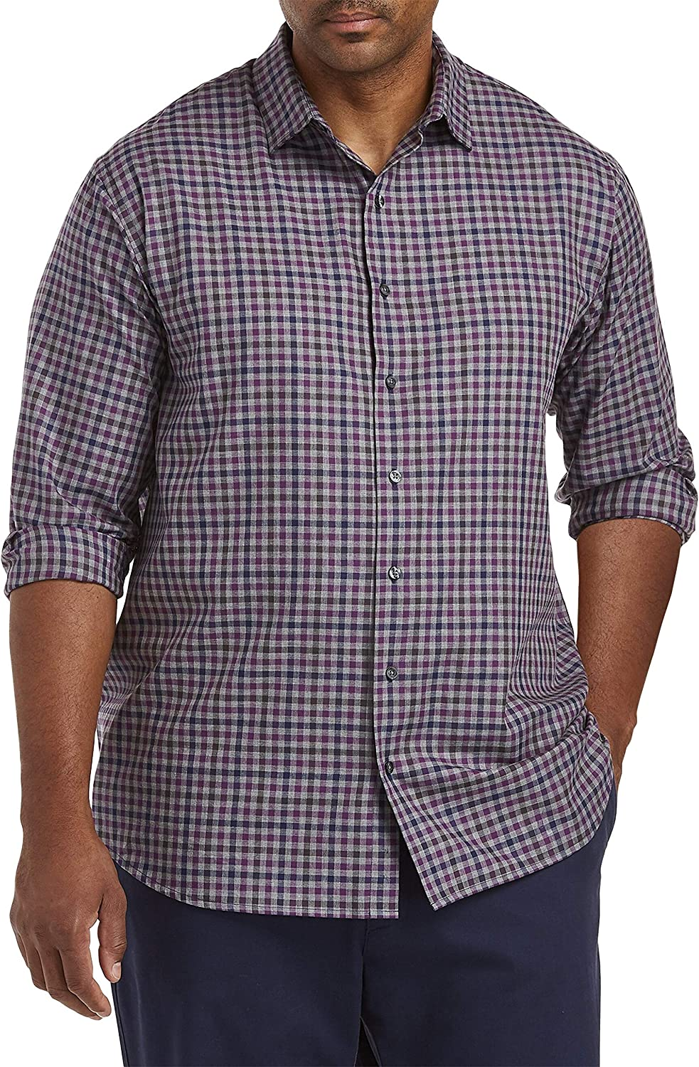 DXL Synrgy Big and Tall Plaid Sport Shirt, Smoked Pearl