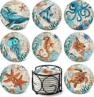 Absorbing Stone Sea Ocean Life Coasters for Drinks by Teivio – Cork Base with..