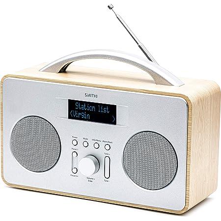 Smith-Style Coppice DAB+ FM DAB Digital Radio Portable Radio with Dual Speaker - DAB Radio/FM Radio/Battery & Mains Powered with 20 Presets - Wooden/Silver