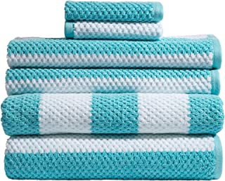 Caro Home Rugby Turquoise 6 Piece Bath Towel Set - 2 Bath Towels 2 Hand Towels 2 Face Towels - 100% Combed Cotton Premium Quality Striped Pattern Color, Thick and Heavy Weight Plush Absorbent 600 GSM