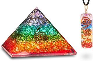 PREK Handmade 7 Seven Chakra Onyx Orgone Pyramid with Seven Chakra Pendant Combo for Reiki Healing, EMF Protection , Posit...