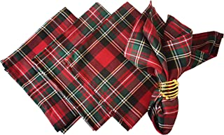 Set of 4,Holiday Christmas Poinsettia Plaid Cloth Napkins for Home Dinner Xmas or Everyday Use Table Top Decoration,18 x 18inch