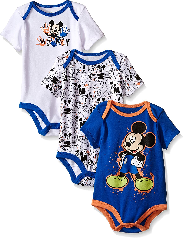 Disney Mickey Mouse Baby Boys Girls Bodysuits Babygrows Peleles 2-Pack 100/% algod/ón 0-24 meses