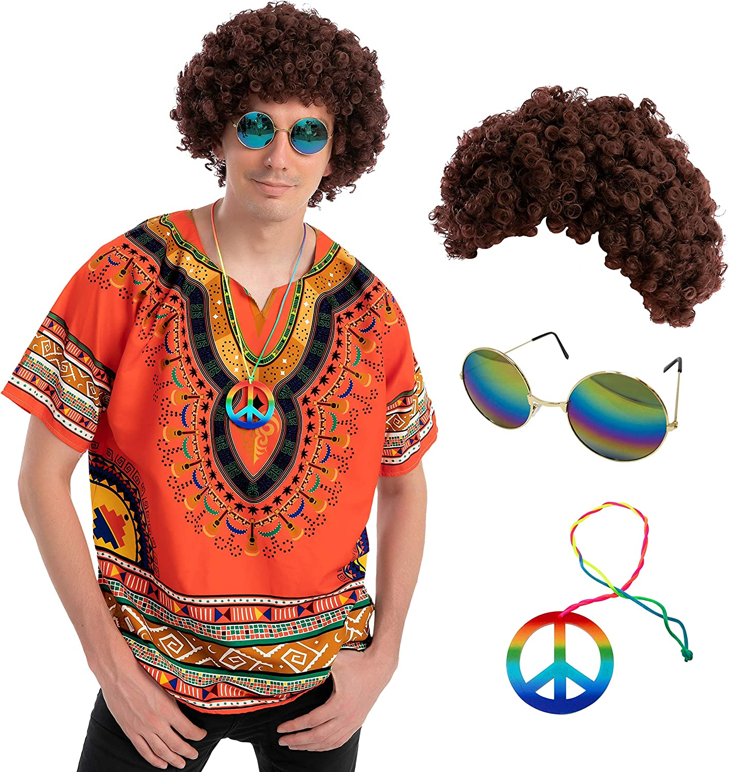 Adult Men hippie costume includes a Wig, Necklace, Round Sunglasses and Shirt : Clothing, Shoes & Jewelry