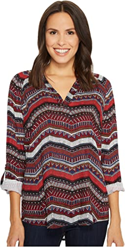 Tribal - Long Sleeve Blouse w/ Roll Up Sleeve and Beading Detail