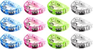 Set of 12 Flashing Light Tambourine Children's Kid's Novelty Toy Noise Maker w/ 3 Light Patterns, Perfect for Party Favors, Goodie Bags (Colors May Vary)