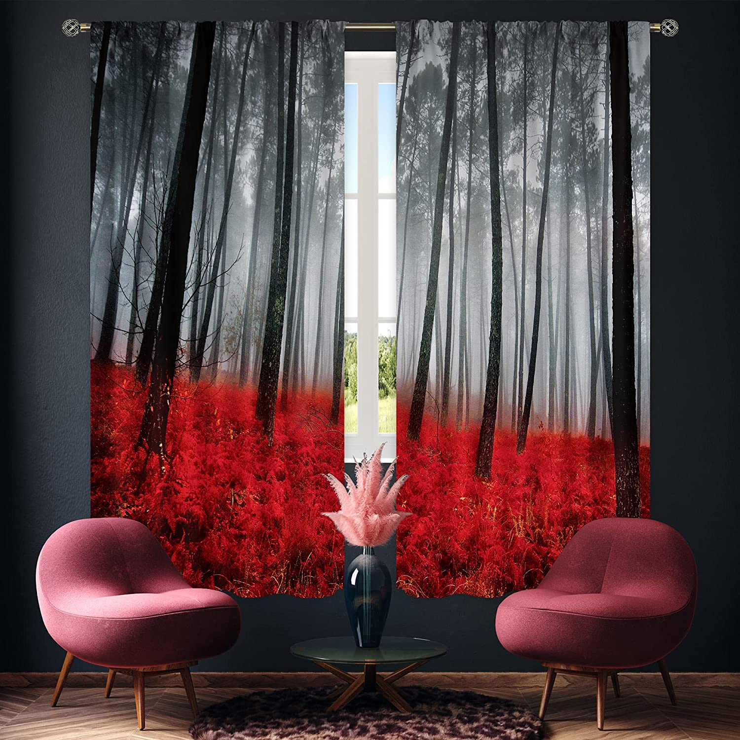 Cinbloo Black Red Forest Curtains Rod Pocket BurgundyTree Bedroom Decor Mysterious Foggy Scene Floral Modern Art Printed Gothic Living Room Window Drapes Treatment Fabric 2 Panels 42 (W) x 63(L) Inch