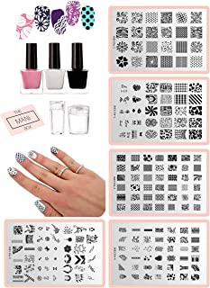 ALL-IN-ONE DIY Nail Art Stamping Kit - Latex Peel Off Liquid Tape, Black & White Nail Stamping Polish, 5 Manicure Nail Stamping Design Plates, 2 Clear Nail Stampers, and Scraper   Nail Art Tool