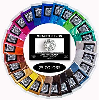 Epoxy Resin Color Pigment- Mica Powder-Naked FUSION-25 Color Set-MEGA 250 Grams/8.82 0Z. Big 10 Gram Bags!! Non Toxic-Fantastic Colors for Epoxy Resin, Art, Crafts, Soap Making, Bath Bombs and Slime