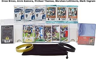 New Orleans Saints Cards Ultimate Football Cards Gift Pack: Drew Brees, Alvin Kamara, Michael Thomas, Marshon Lattimore, Mark Ingram + 6 Packs, 100 Sleeves, 25 Cases, 800 ct Box, Wristbands