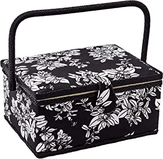 Sewing Basket with Floral Print Design - Sewing Kit Storage Box with Removable Tray, Built-in Pin Cushion and Interior Pocket - by Adolfo Design (Large - 12