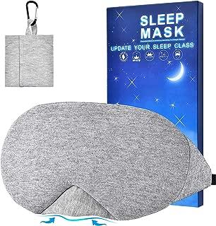 Kingshalor Cotton Sleep Eye Mask for Men Women, 100% Handmade New Design Light Blocking Eye Mask Cover Super Soft Comfortable Blindfold with Travel Pouch for Travel Sleeping Meditation