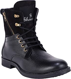 Shences Men's Genuine Leather Casual, high top Tough Boots for Men.