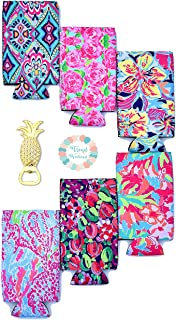 Slim Can Neoprene Insulators in 6 Floral Patterns and Pineapple Bottle Opener Perfect for Insulator for 12 Ounce Tall Drinks Like White Claw, Truly, Red Bull, Spiked Seltzer, Michelob Ultra