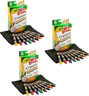 3 Pack of 8 Crayola Dry-Erase Crayons bundled by Maven Gifts