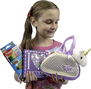 Always Moore Unicorn Gift Set for Girls Includes Cuddly Plush Unicorn Toy in its Own Sparkly Purse, a Beautiful I Heart Unicorns Coloring Book, and Triangular Ergonomic Colored Pencils