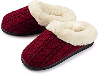 Pupeez Girls Cable Knit Slippers Fleece Lined House Shoe