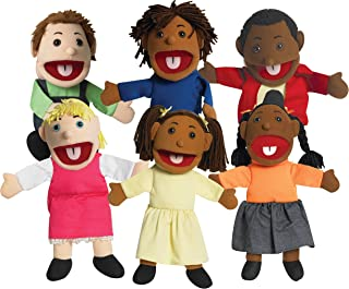 "Children's Factory 15"" Ethnic Children Puppets with Movable Mouths, Kids/Toddlers Hand Puppets, Classroom/Daycare/Playroom Pretend Play, Set of 6"