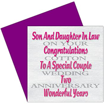 Son Daughter In Law 2nd Wedding Anniversary Card Cotton Anniversary 2 Years Amazon Co Uk Office Products