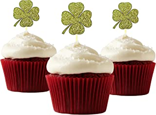 Lucky Four Leaf Clover Cupcake Topper 12 pieces per Pack Cupcake Topper Decoration Card Stock Gold