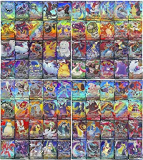 100 stycken spelkort för barn, GX samlarkort, innehåller kortseten 60 V + 40 Vmax för Pokemon (60 V + 40 Vmax)