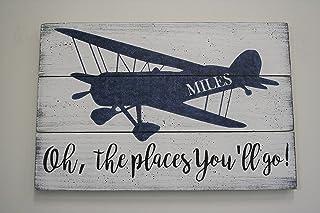 Boys Nursery Wall Decor Vintage Airplane Nursery Decor Personalized Pallet Sign