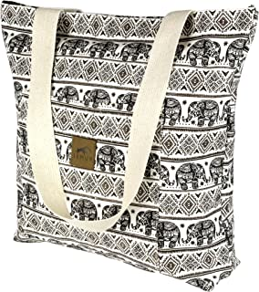 Canvas Shoulder Tote Bag - Large Eco-Friendly Zippered Tote with Front Pocket by Lemur Bags