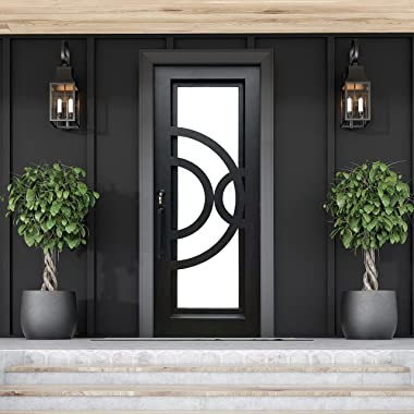 ALEKO IDR4096BK12 Iron Square Top Curved-Arc Design Single Door with Frame and Threshold 96 x 40 Inches Matte Black
