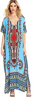 a66811fa21f Milumia Women s Bohemian Ornate Print V Neck Long Beach Cover Up Caftan  Maxi Dress Plus Size