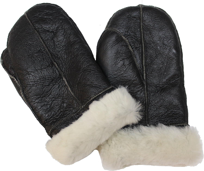 Unisex Dark Brown 100% Sheepskin Mittens with Cream Fur