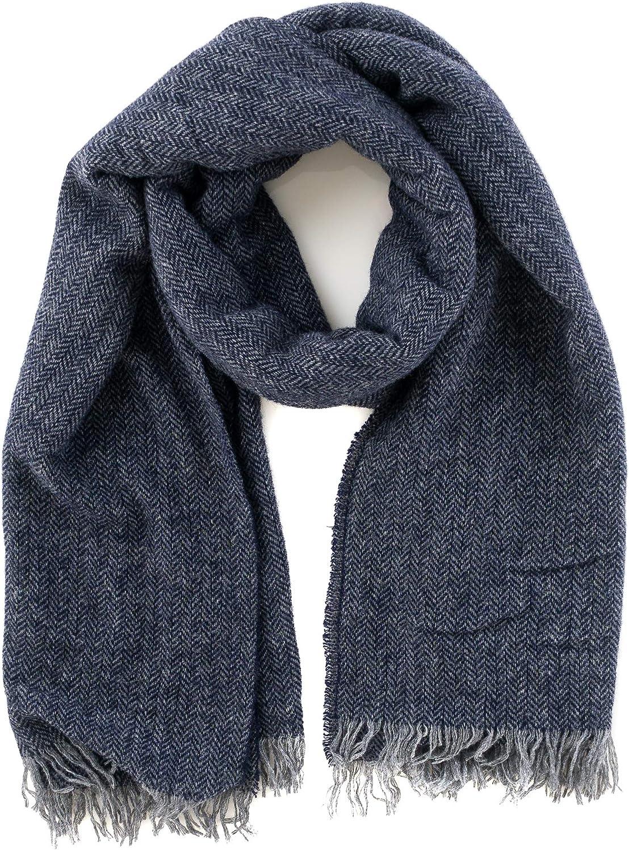 Angiola Made in  Women Thin Herringbone Virgin Wool Stole Wrap Scarf Warm Soft Stylish