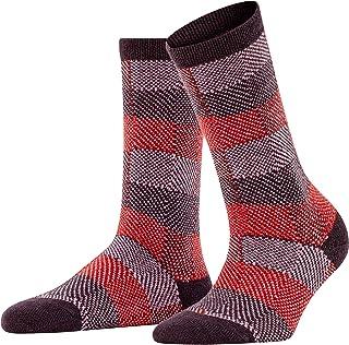 FALKE Socken Plaid Look Wolle Kaschmir Damen schwarz braun viele weitere Farben verstärkte Damensocken mit Muster atmungsaktiv warm dick bunt gemustert kariert 1 Paar